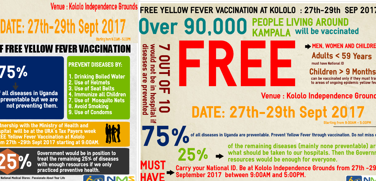FREE YELLOW FEVER VACCINATION 27th-29th SEPT 2017 AT KOLOLO