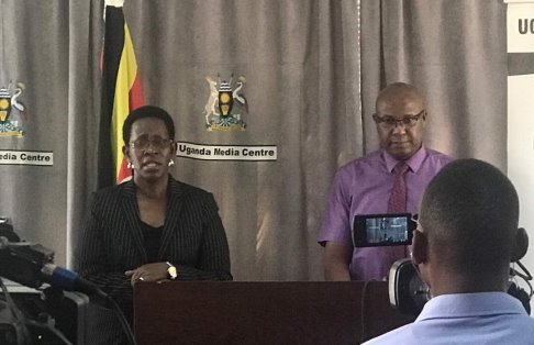 The Permanent Secretary Ministry, Dr. Diana Atwine and the NMS General Manager, Mr. Moses Kamabare at the press breifing